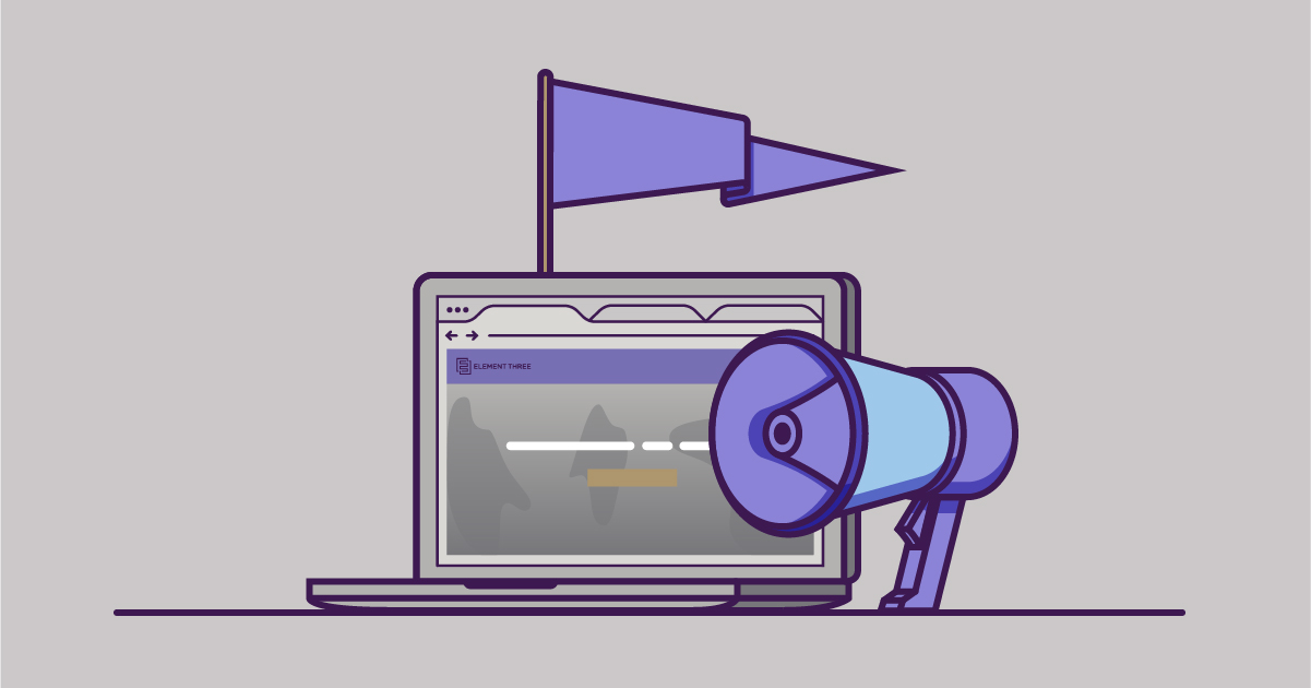illustrated computer next to a purple megaphone
