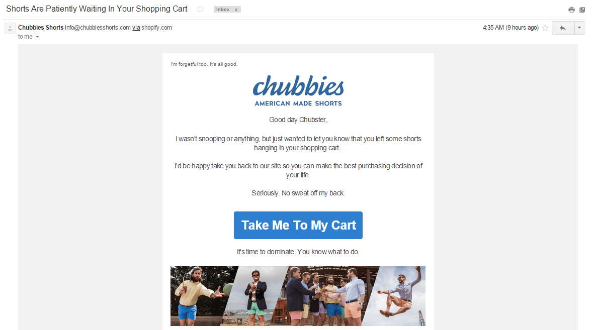 chubbies shorts abandonment email