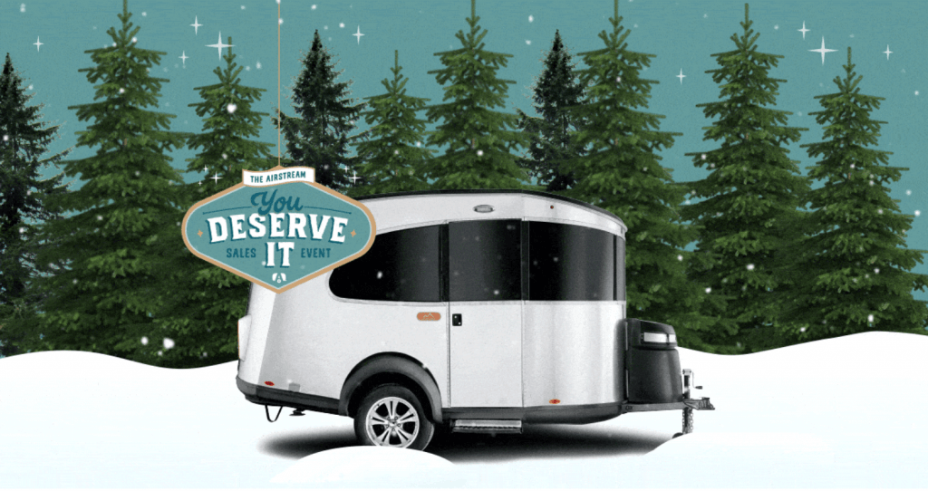 Airstream Basecamp Social Ad Showing Product in Snow