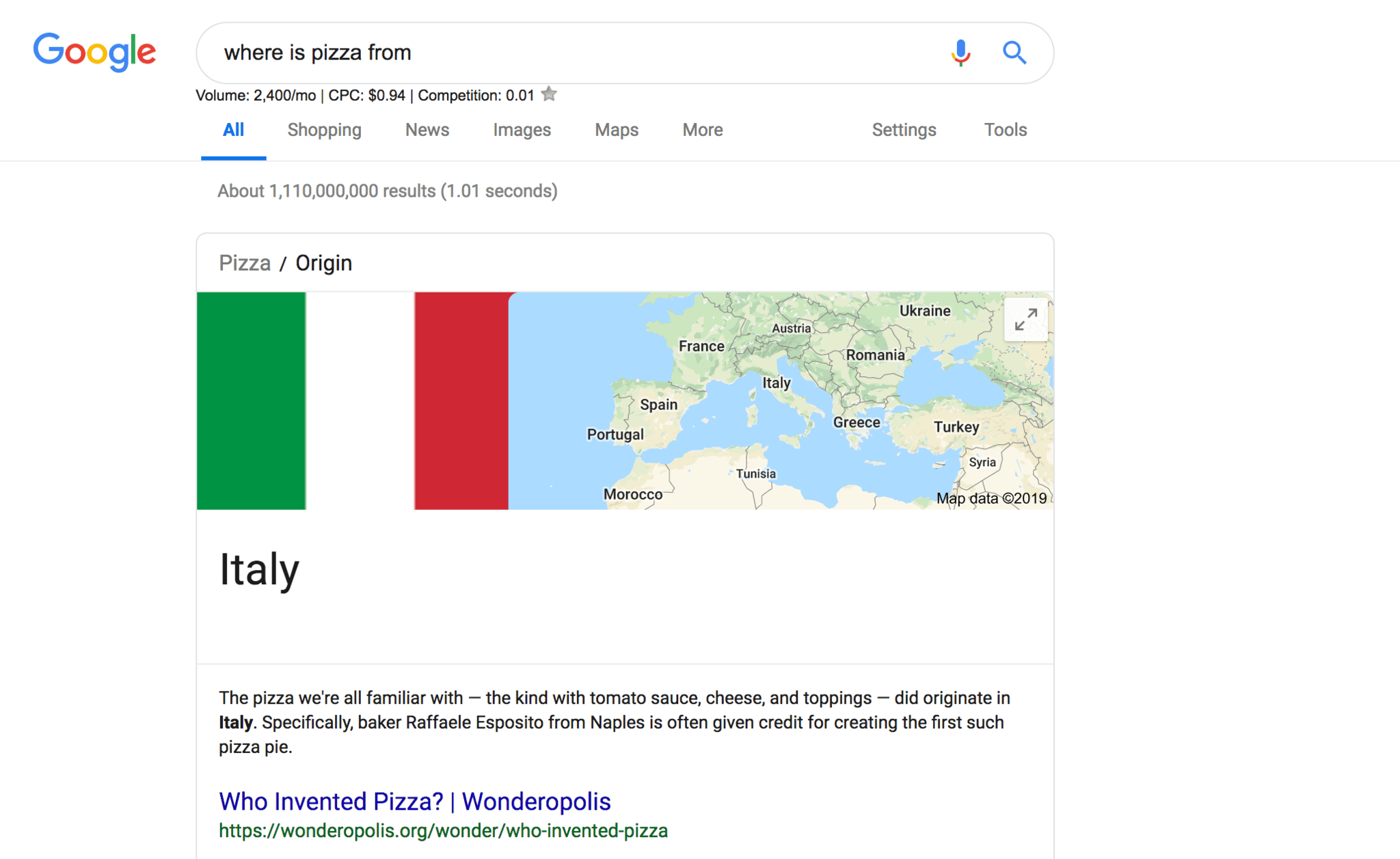 paragraph featured snippet showcasing where pizza is from