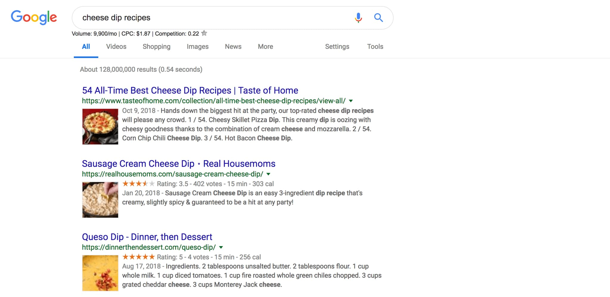 rich snippet about cheese dips in google SERPs