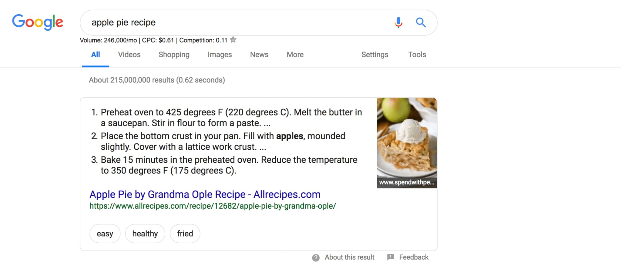 list featured snippet showcasing apple pie recipe