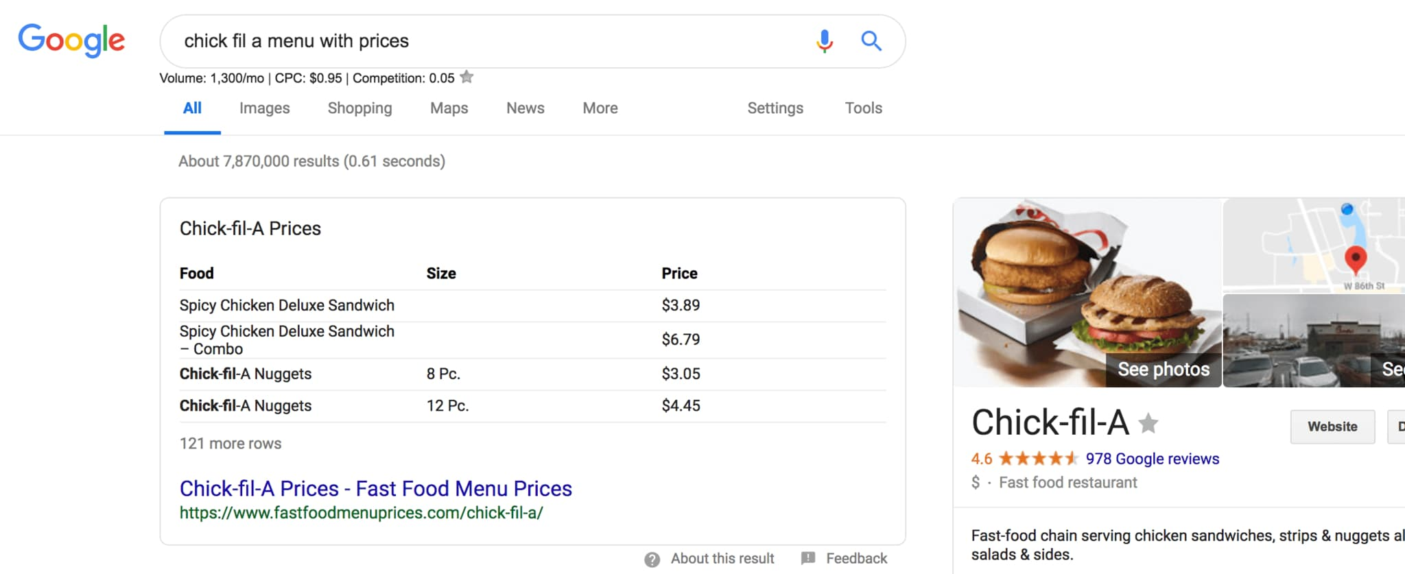 table featured snippet chick fil a menu