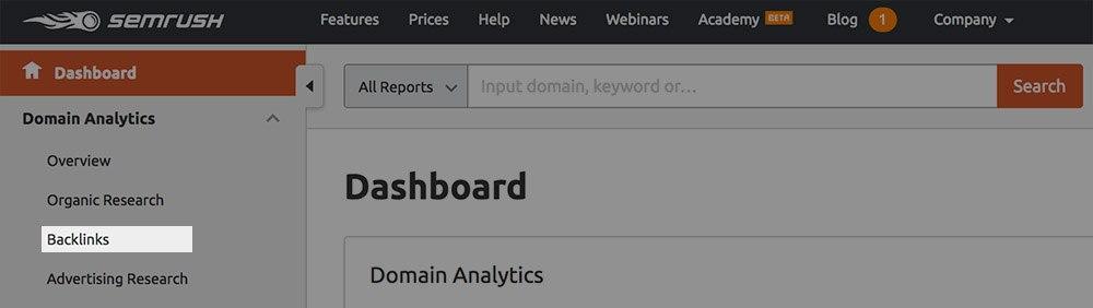 semrush backlinks section screenshot