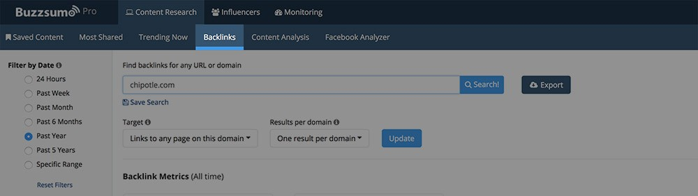 buzzsumo backlink section screenshot
