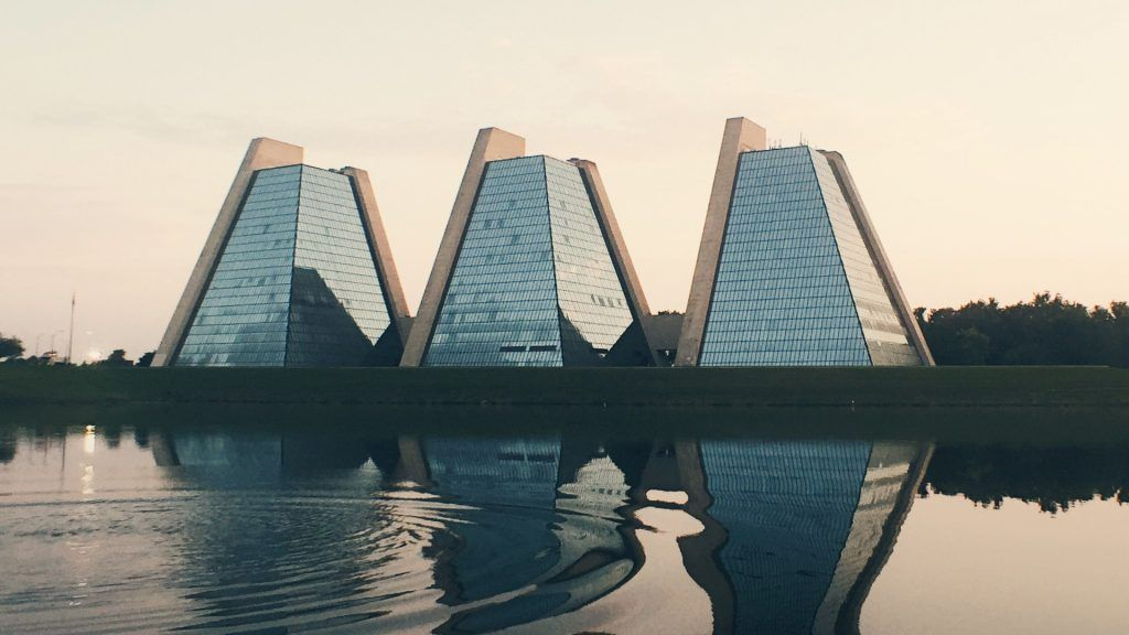 indianapolis pyramids reflected in pond