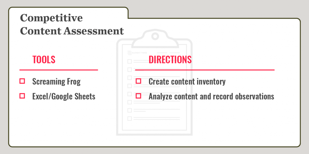 competitive content analysis recipe card