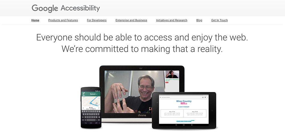 google accessibility landing page