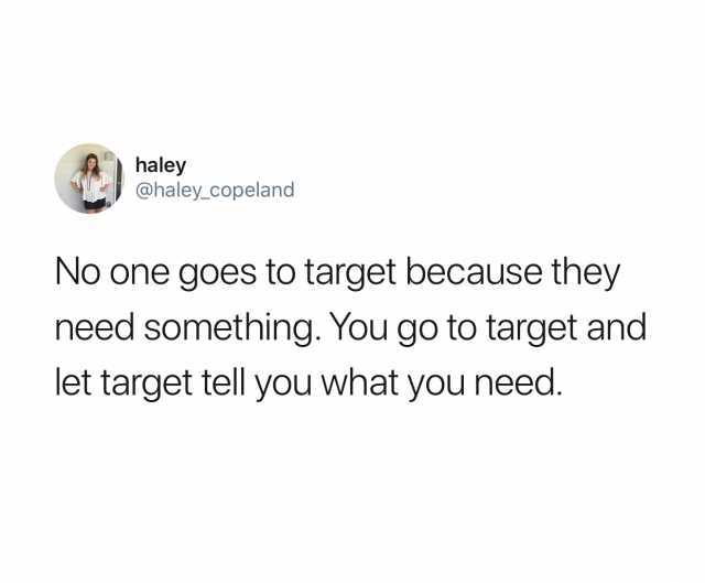 haley copeland tweet about target being fun