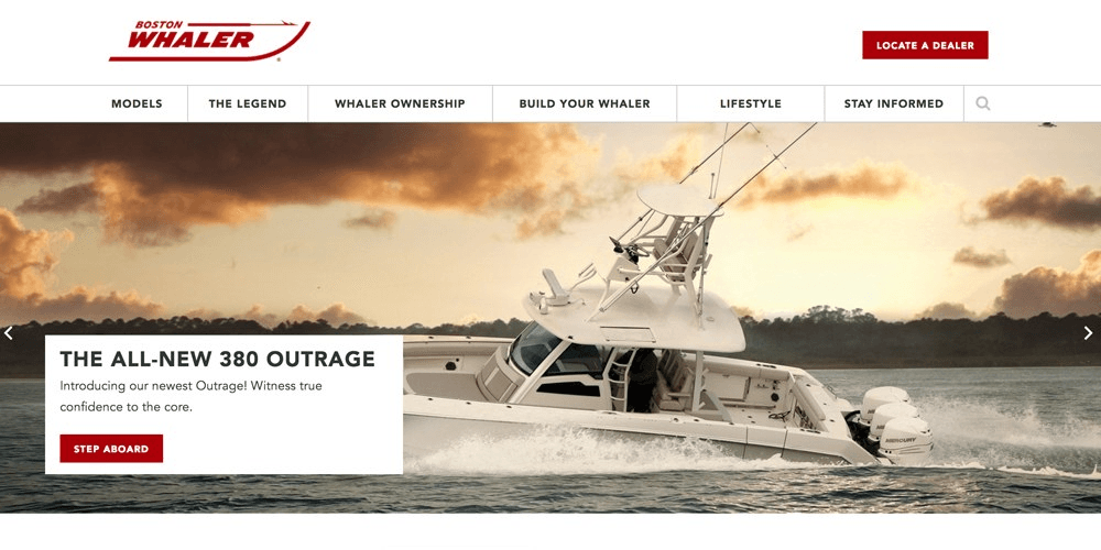 boston whaler website with clean navigation
