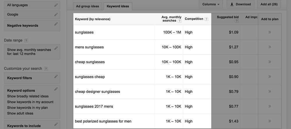 sunglasses keywords in google ads keyword planner