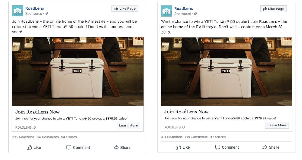 social ad testing example