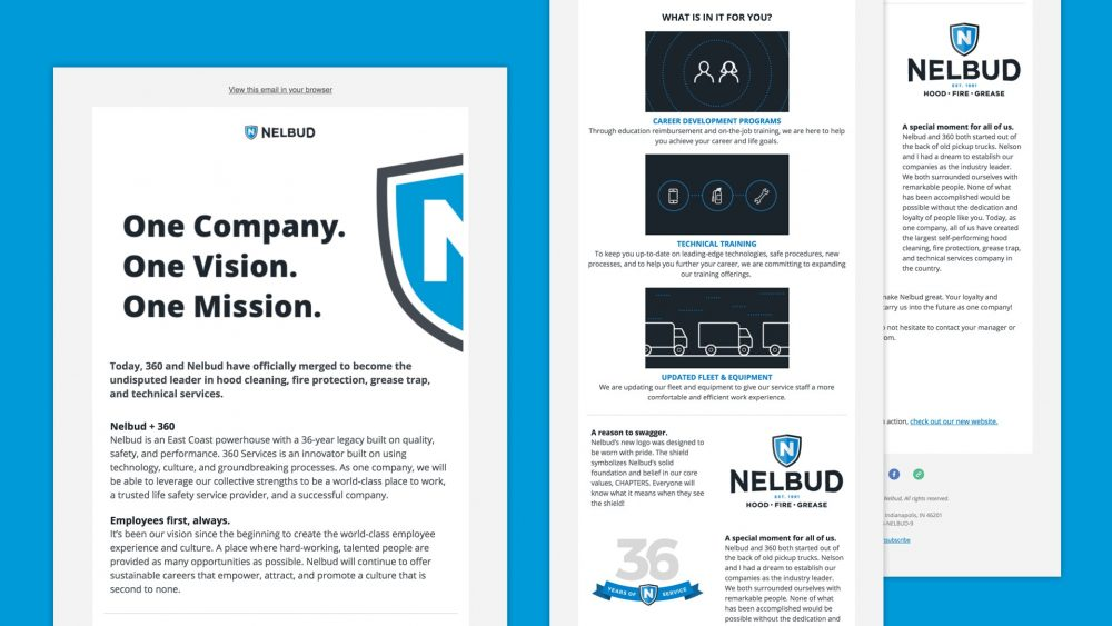 nelbud brand launch email announcement mockup
