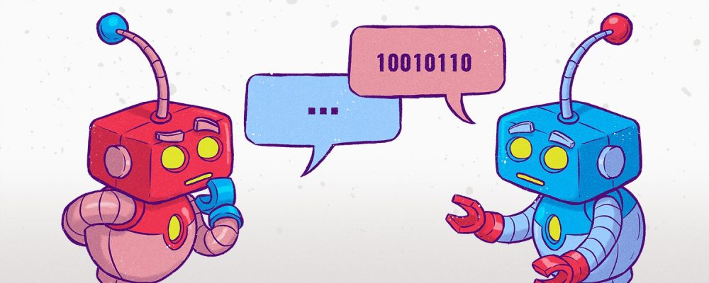 two illustrated robots chatting back and forth