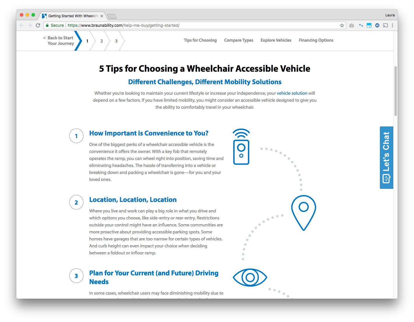 braunability wheelchair accessibility web page