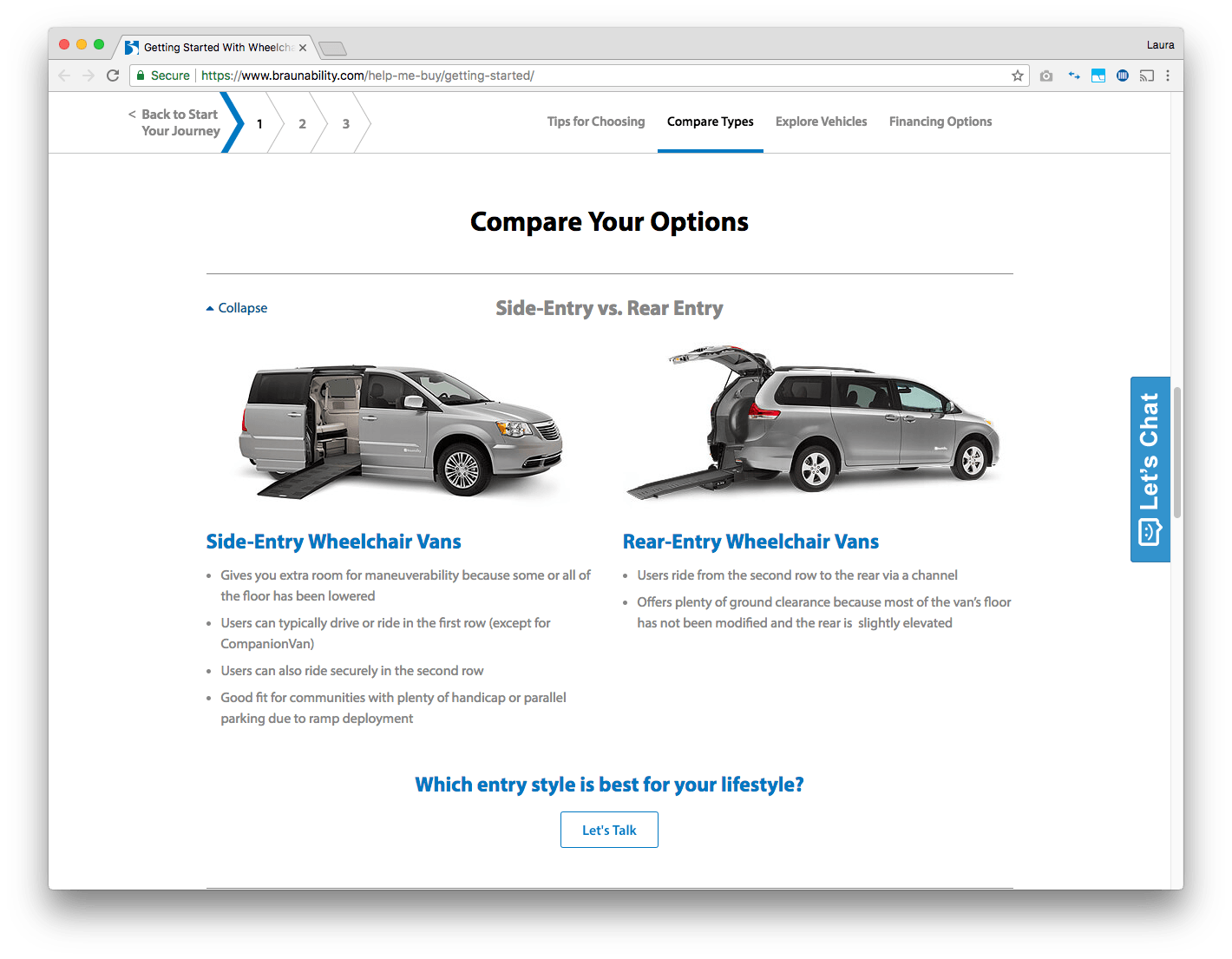 braunability compare vehicles web page