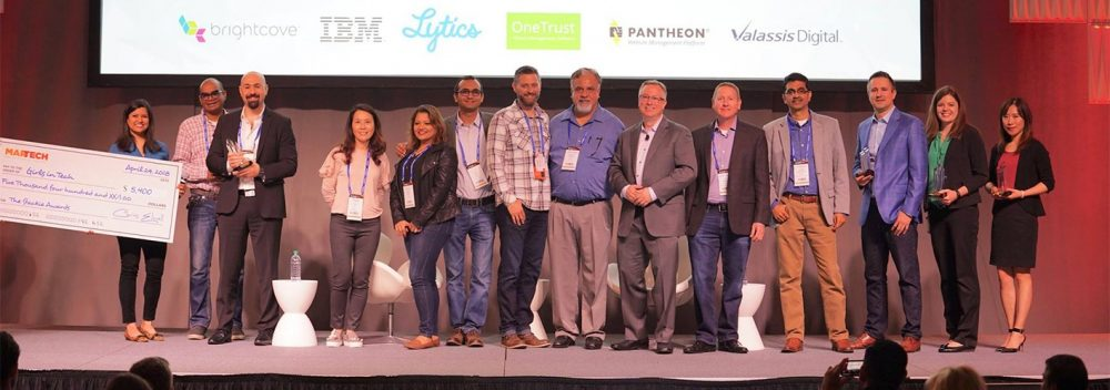2018 Martech award winners posing for photograph on stage
