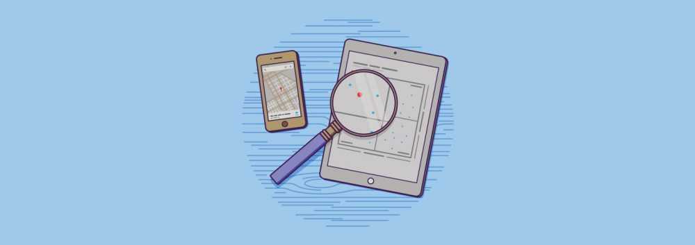 magnifying glass over iPad
