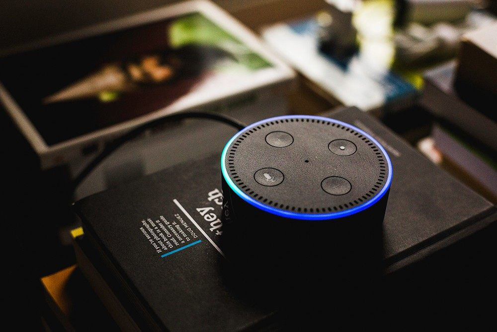 amazon echo dot on black book