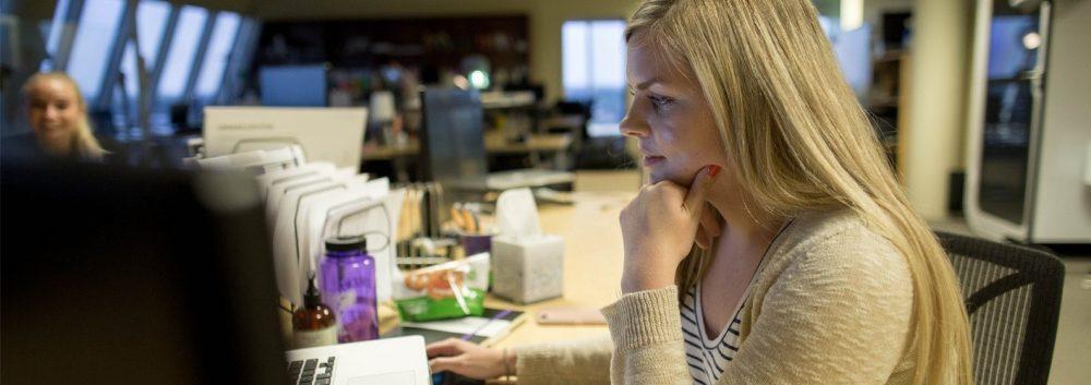 Mysti Eichinger working at her desk