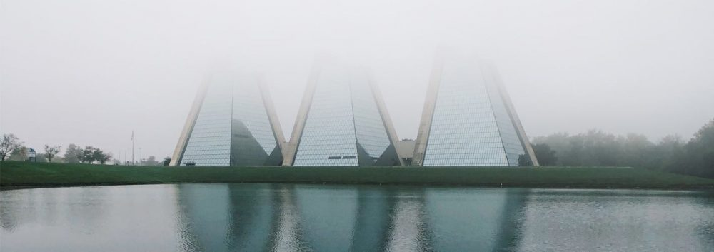 the Pyramids building group in Indianapolis, IN on a foggy day