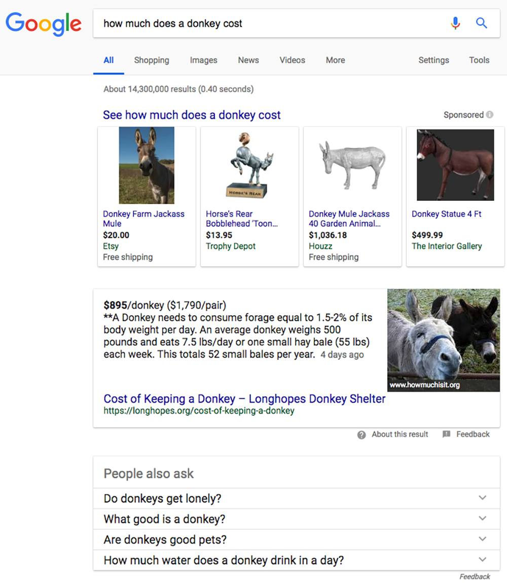 google search results for how much does a donkey cost